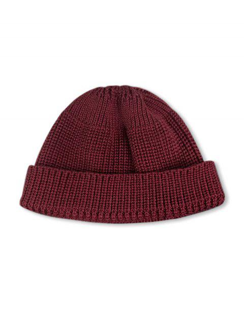 women Casual Round Top Knitted Weaving Winter Soft Hat - RED WINE  Mobile