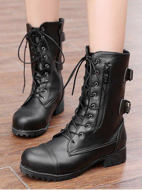 fancy Retro Side Zipper Buckle Decoration Boots - BLACK EU 43 Mobile