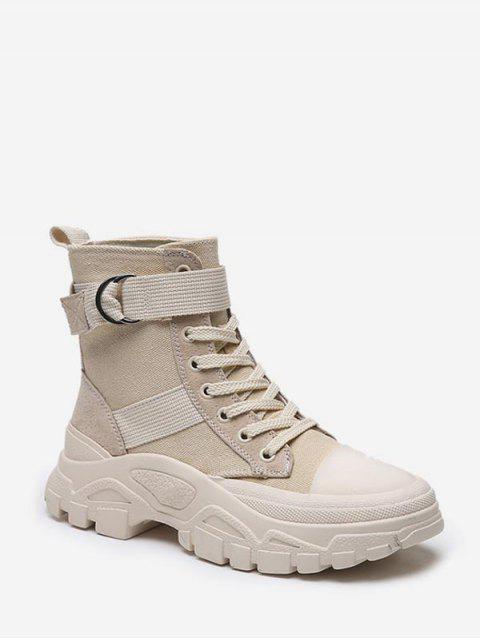 affordable Casual Leather Trim Platform Short Boots - BEIGE EU 38 Mobile