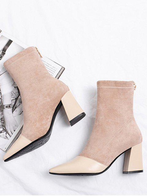 outfits Leather Trim Suede High Heel Boots - APRICOT EU 38 Mobile