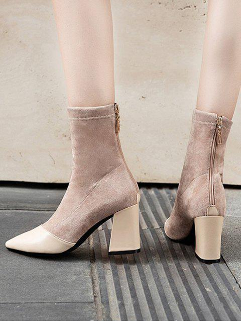 best Leather Trim Suede High Heel Boots - APRICOT EU 35 Mobile