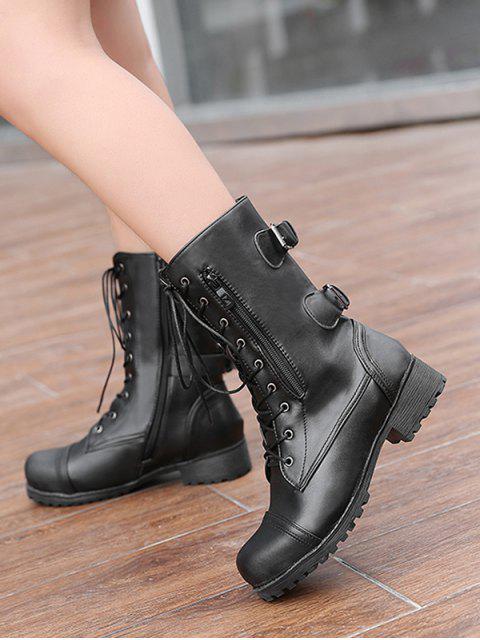 womens Retro Side Zipper Buckle Decoration Boots - BLACK EU 37 Mobile