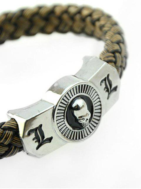 hot Punk Skull Braid Rope Bracelet - COFFEE  Mobile