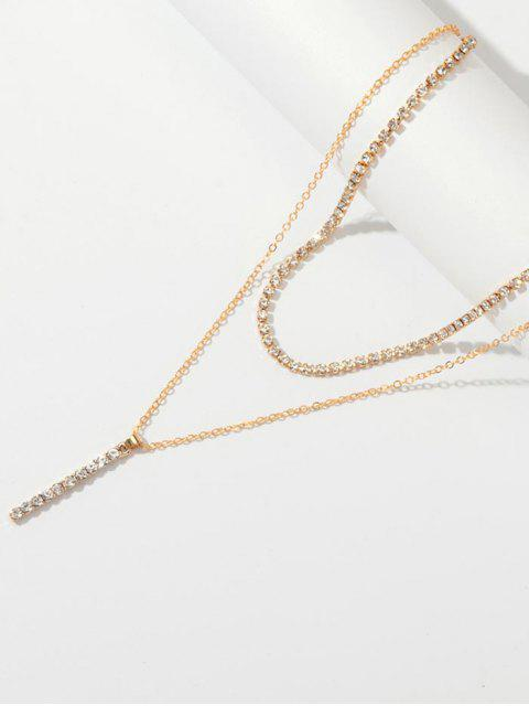 Collier Barre avec Strass à Double Couches - Or  Mobile