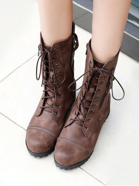 shop Retro Side Zipper Buckle Decoration Boots - DEEP BROWN EU 42 Mobile