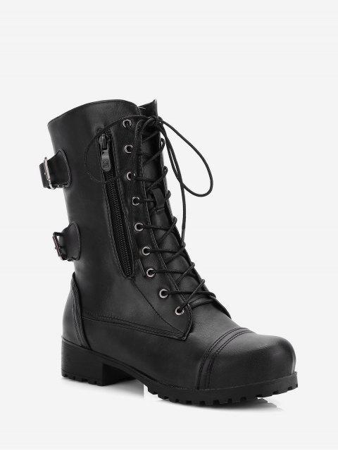 women Retro Side Zipper Buckle Decoration Boots - BLACK EU 39 Mobile