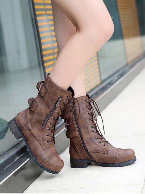 buy Retro Side Zipper Buckle Decoration Boots - DEEP BROWN EU 40 Mobile