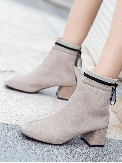affordable Suede Square Toe Solid High Heel Boots - BEIGE EU 37 Mobile