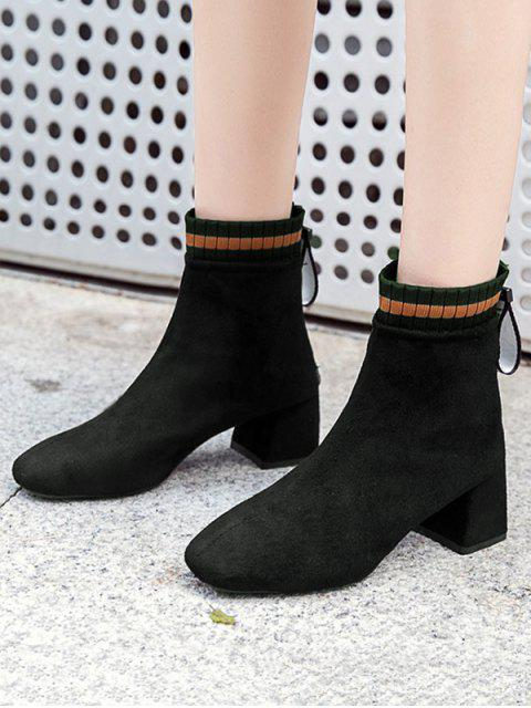 latest Suede Square Toe Solid High Heel Boots - BLACK EU 37 Mobile