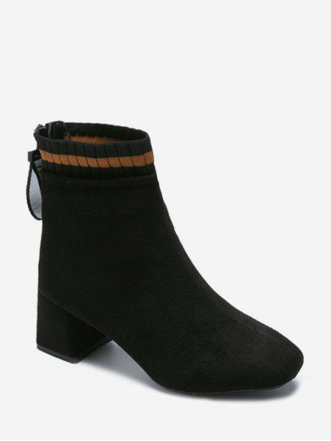 trendy Suede Square Toe Solid High Heel Boots - BLACK EU 38 Mobile