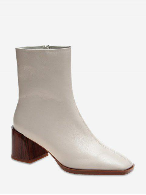 womens Square Toe Clog Chunky Heel Ankle Boots - BEIGE EU 37 Mobile