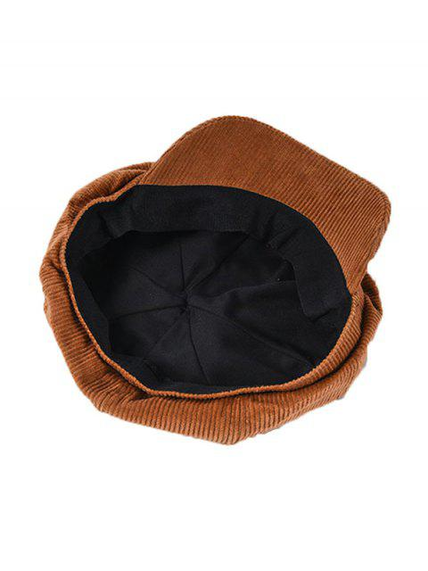 Sombrero de pico vintage octogonal de pana de invierno - Marrón  Mobile