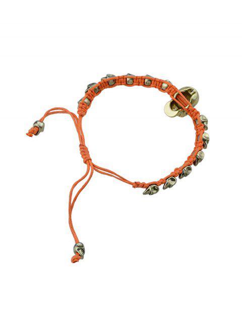 women Adjustable Rope Skull Bracelet - DARK ORANGE  Mobile