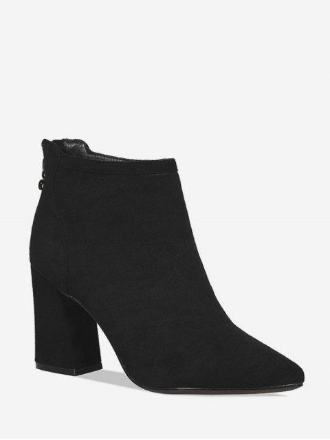 fashion Suede Pointed Toe High Heel Solid Boots - BLACK EU 38 Mobile