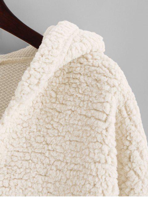 Sudadera con capucha de peluche con esquileo falso y hombros caídos de ZAFUL - Blanco S Mobile