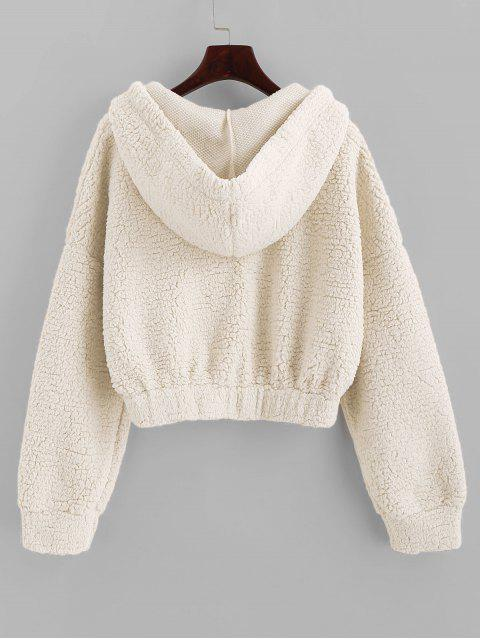 shop ZAFUL Drop Shoulder Faux Shearing Teddy Hoodie - WHITE S Mobile