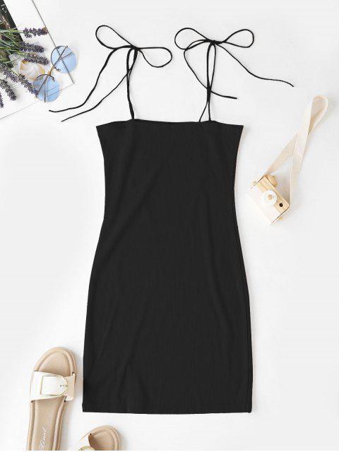 Vestido camisero con abertura acanalada y hombros descubiertos - Negro S Mobile