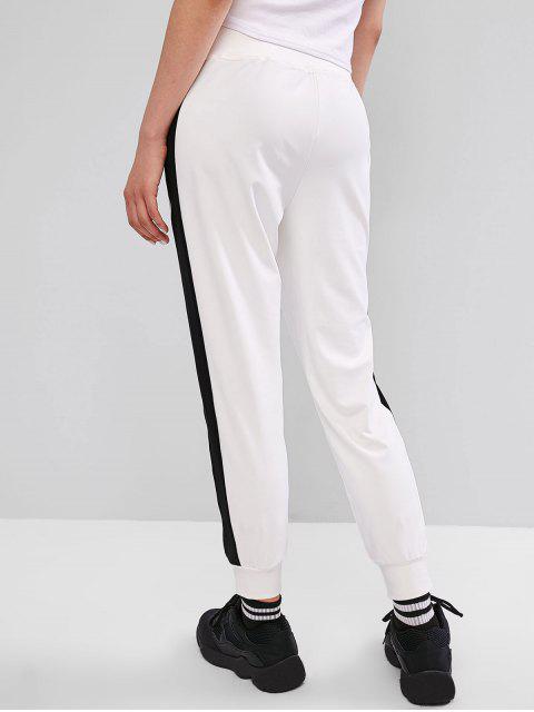 Pantalones de chándal con ribete de rayas - Blanco L Mobile