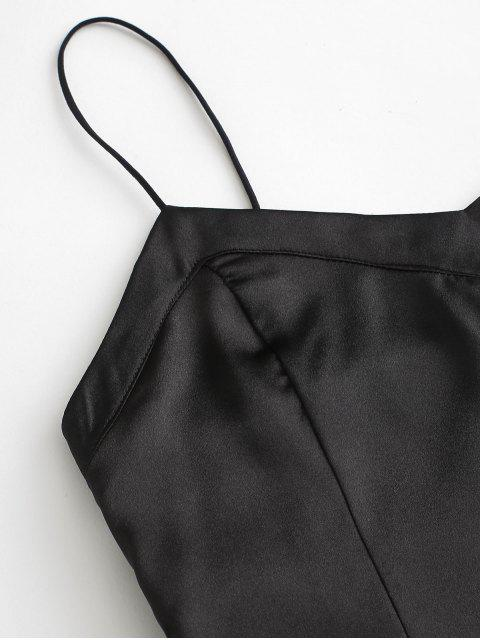 ladies Satin Front Slit Mini Slip Dress - BLACK L Mobile