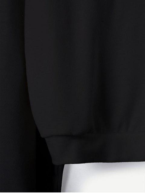 Sudadera con hombros descubiertos y manga de cinta con bandera americana - Negro S Mobile