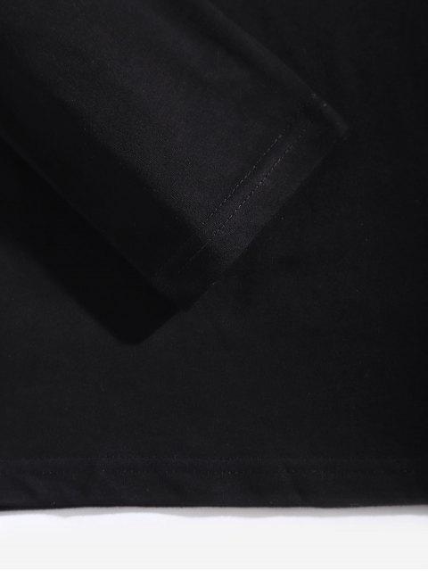 卡通人物字母圖形打印長袖T卹 - 黑色 M Mobile