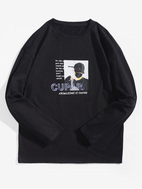 Camiseta de manga larga con estampado gráfico de personaje de dibujos animados - Negro L Mobile