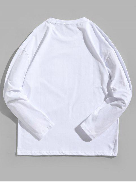 Camiseta de manga larga con estampado gráfico de personaje de dibujos animados - Blanco L Mobile
