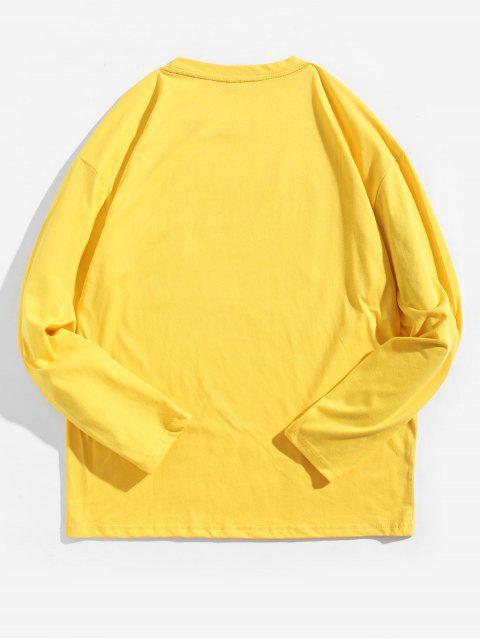 Camiseta con contraste de manga larga con estampado geométrico - Amarillo de Sol  XL Mobile