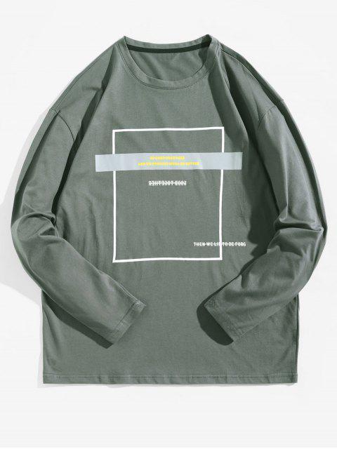 Camiseta con contraste de manga larga con estampado geométrico - Gris de Acorazado S Mobile