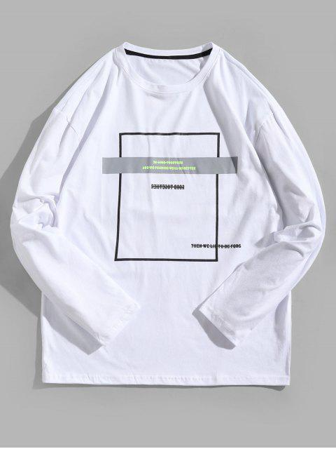 Camiseta con contraste de manga larga con estampado geométrico - Blanco S Mobile