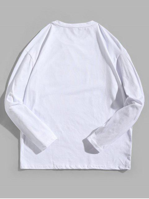 Camiseta con contraste de manga larga con estampado geométrico - Blanco XL Mobile