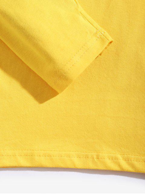 Camiseta con contraste de manga larga con estampado geométrico - Amarillo de Sol  L Mobile