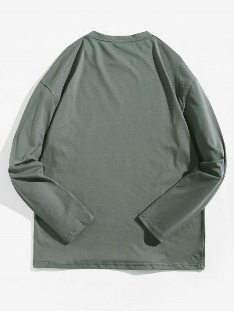Camiseta con contraste de manga larga con estampado geométrico - Gris de Acorazado XS Mobile