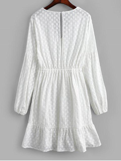 outfits Embroidery Lantern Sleeves Open Back Dress - WHITE S Mobile