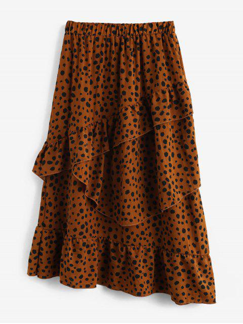 fancy Layered Flounce Leopard High Waisted Midi Skirt - TAN S Mobile