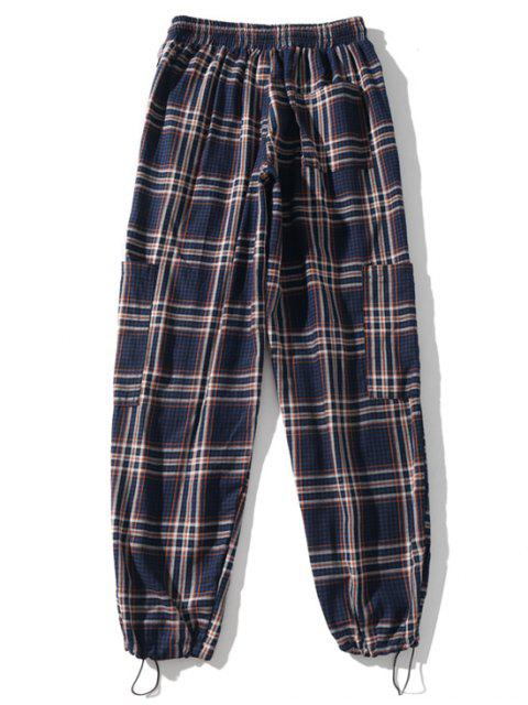 women Plaid Print Applique Sport Drawstring Jogger Pants - DEEP BLUE 2XL Mobile