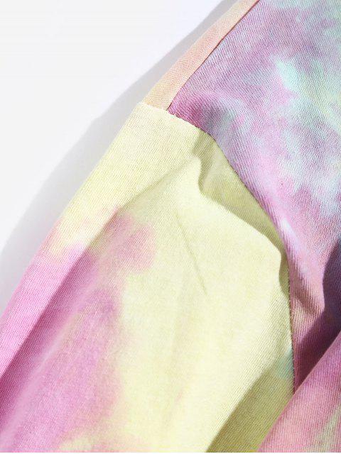 Tie Dye Letter Graphic Print camiseta de manga larga - Multicolor S Mobile