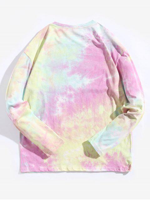 Tie Dye Letter Graphic Print camiseta de manga larga - Multicolor L Mobile