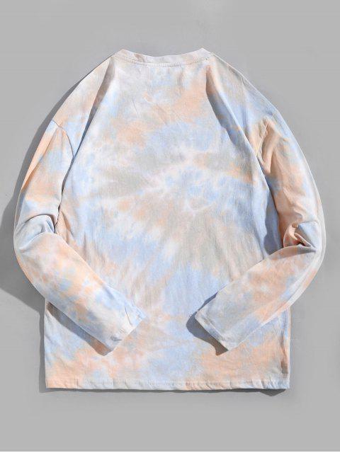 Tie Dye Letter Graphic Print camiseta de manga larga - Multicolor-A XS Mobile