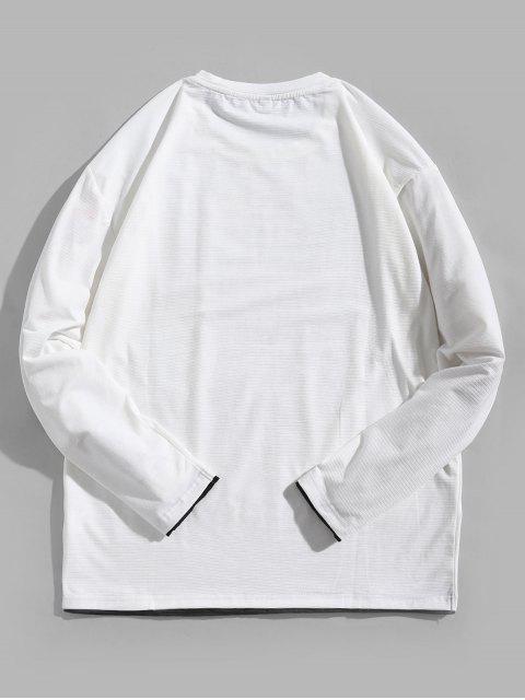 Letter Graphic Contrast Trim camiseta de manga larga - Blanco M Mobile