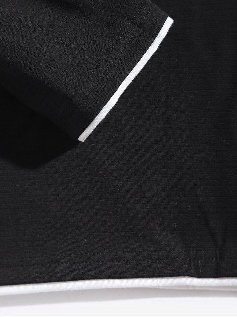 字母圖形對比修剪長袖T卹 - 黑色 L Mobile