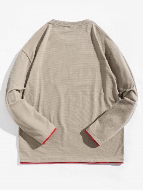 Letter Graphic Contrast Trim camiseta de manga larga - Caqui Claro S Mobile