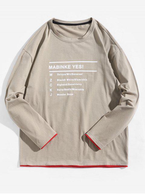 Letter Graphic Contrast Trim camiseta de manga larga - Caqui Claro L Mobile