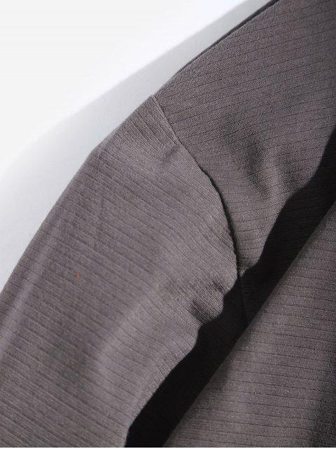 womens Letter Graphic Contrast Trim Long Sleeve T-shirt - BATTLESHIP GRAY XS Mobile