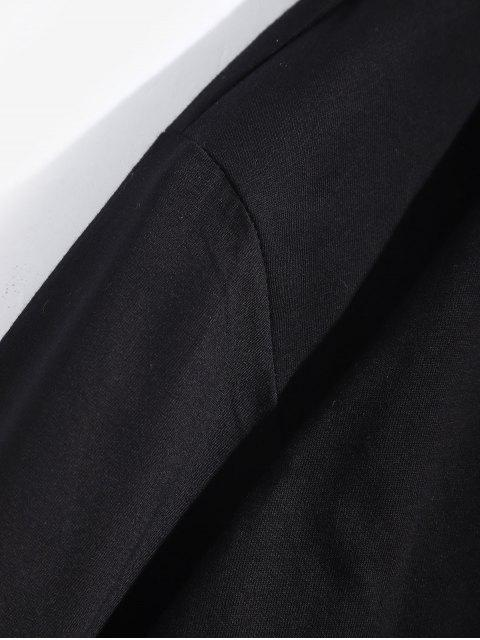 Letter Graphic Tie Dye Print camiseta de manga larga - Negro S Mobile