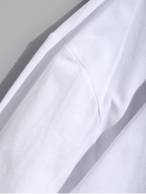 Letter Graphic Tie Dye Print camiseta de manga larga - Blanco L Mobile
