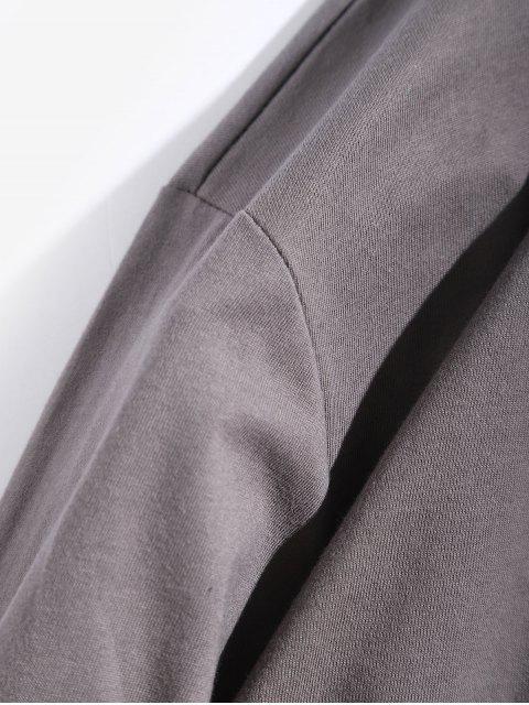 字母圖形領帶染料打印長袖T卹 - 戰艦灰色 L Mobile