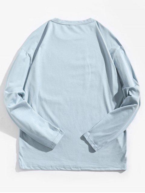 Letter Graphic Tie Dye Print camiseta de manga larga - Azul Claro L Mobile