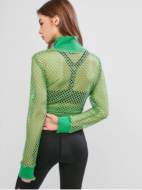 outfits High Neck Fishnet See Through Top - GREEN APPLE M Mobile