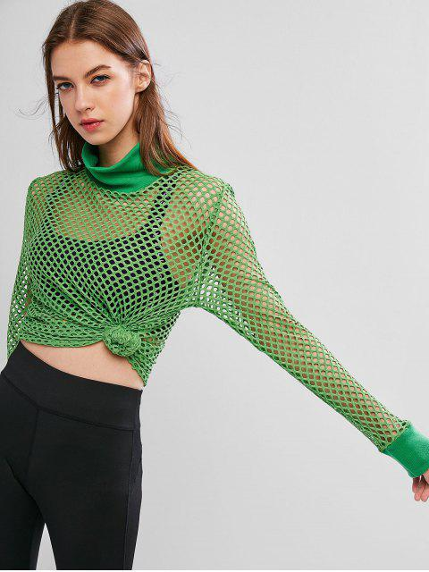 shop High Neck Fishnet See Through Top - GREEN APPLE L Mobile